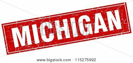 Michigan red square grunge vintage isolated stamp