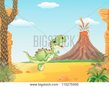 Cute tyrannosaurus running with the prehistoric background