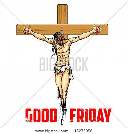 illustration of Jesus Christ on cross on white background for Good Friday