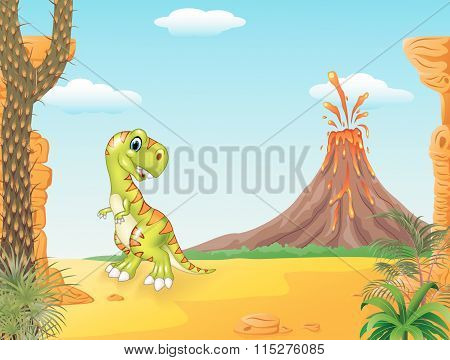 A cute tyrannosaurus character with Prehistoric background