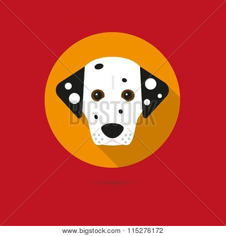 Flat design icon of cute dalmatian dog face