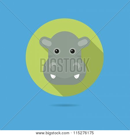Flat design icon of cute hippopotamus face