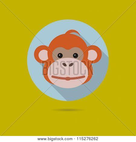 Flat design icon of cute orangutan monkey face