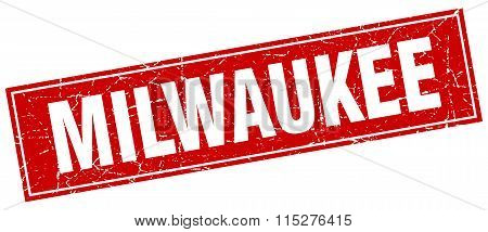 Milwaukee red square grunge vintage isolated stamp