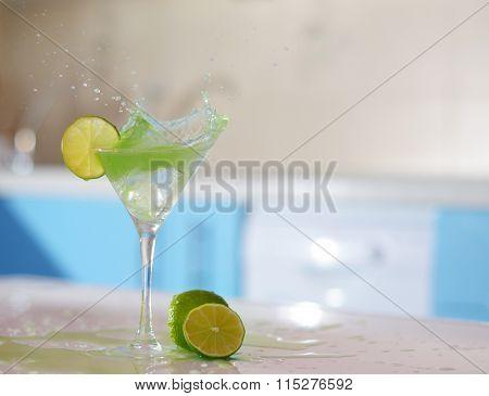 Splash In Glass Of Margarita