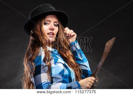 Pretty Strong Woman In Hat Holding Machete.