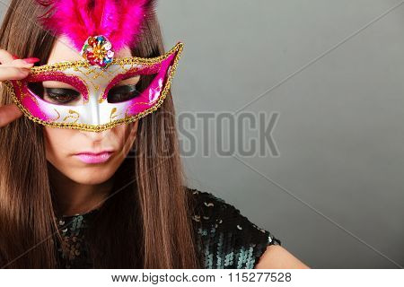 Woman Face With Carnival Mask