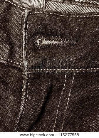 Closeup Detail Of Black Denim