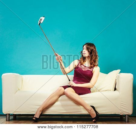 Girl Taking Self Picture Selfie With Smartphone Camera