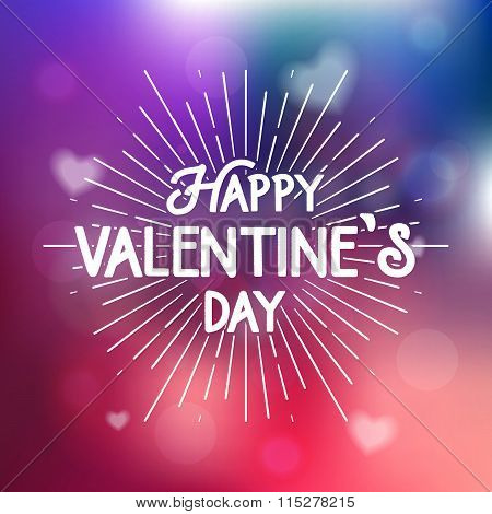 Happy Valentine's Day Postcard. Typography Poster With Cute De Focused Background With Hearts. Valen