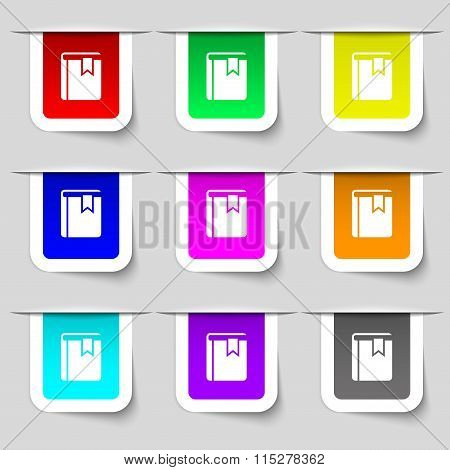 Book Bookmark Icon Sign. Set Of Multicolored Modern Labels For Your Design.