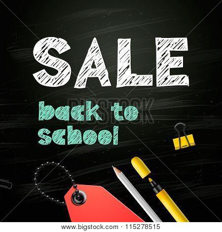 Back to school SALE design on blackboard background, vector illustration.