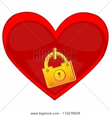 Heart locked on golden lock
