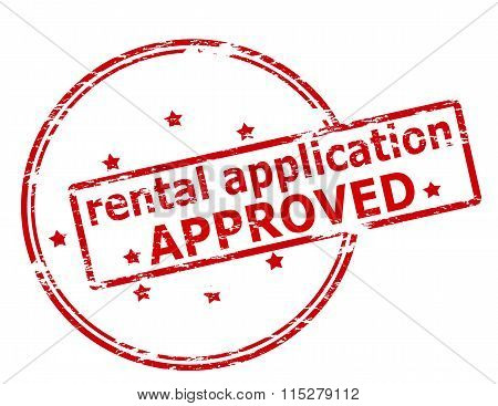 Rubber stamp with text rental application approved inside vector illustration