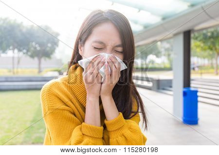 Young asian woman feeling unwell