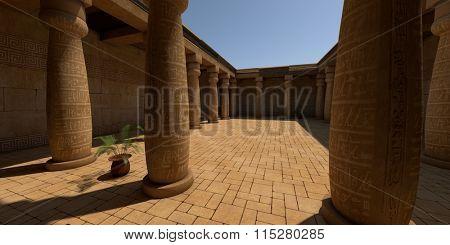 egypt style patio with pillars