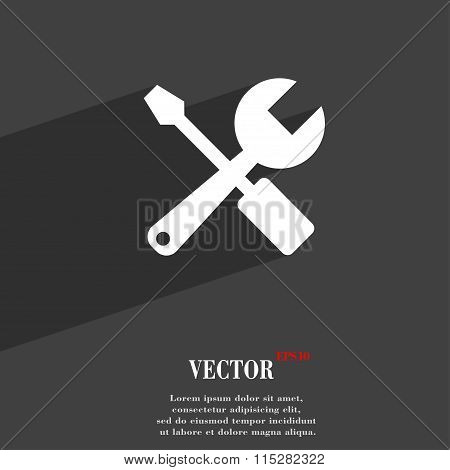 Wrench And Screwdriver Symbol Flat Modern Web Design With Long Shadow And Space For Your Text.