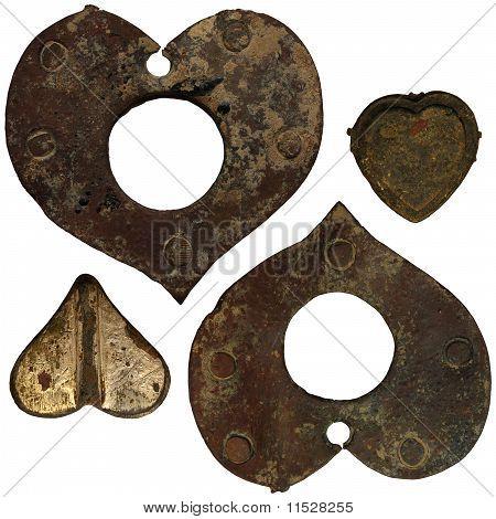Set Of Isolated Iron Rusty Hearts