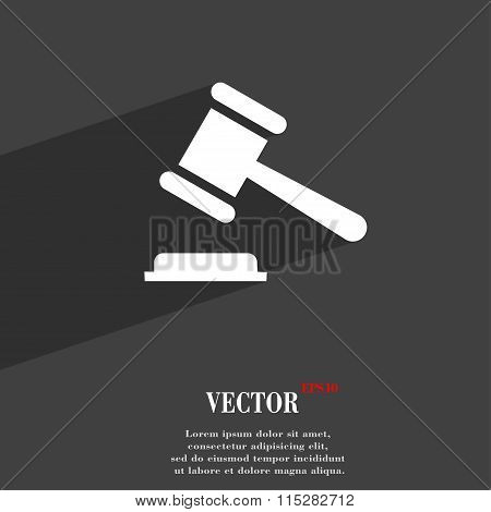 Judge Or Auction Hammer Symbol Flat Modern Web Design With Long Shadow And Space For Your Text.
