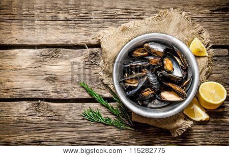 Cup With Clams, Limon And Rosemary. On Wooden Table.