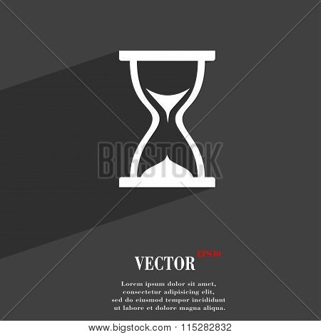 Hourglass Symbol Flat Modern Web Design With Long Shadow And Space For Your Text.