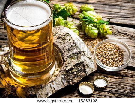The Beer Style . Glass Of Beer On Birch Stand, Malt And Hops On Wooden Background.