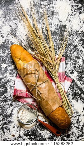 Fresh Bread With Ears Of Wheat And Flour.