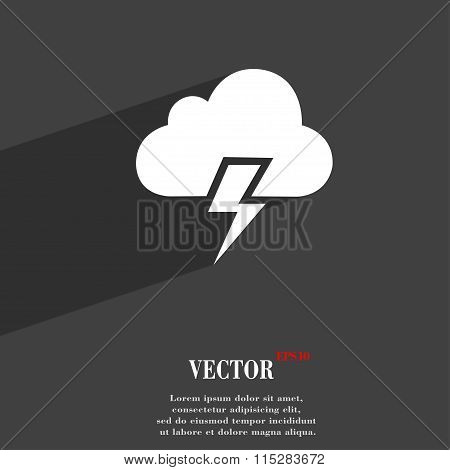 Heavy Thunderstorm Symbol Flat Modern Web Design With Long Shadow And Space For Your Text.