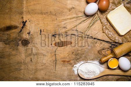 Preparation Of The Dough. Ingredients For The Dough - Egg, Flour, Butter With A Rolling Pin.