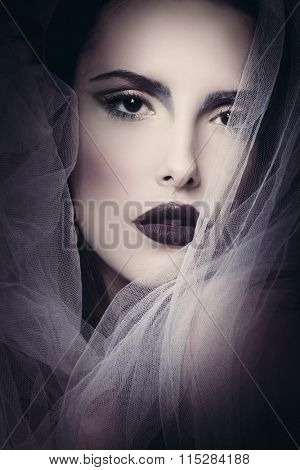 glamorous beauty woman portrait with veil studio shot closeup