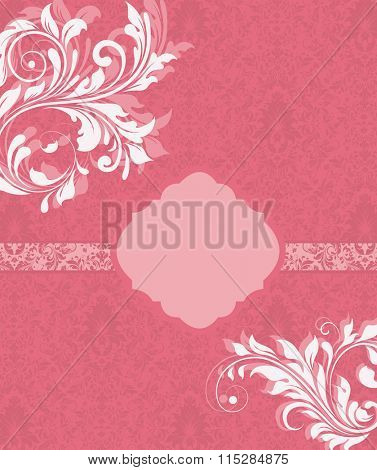 Vintage invitation card with ornate elegant retro abstract floral design, white and pink flowers and leaves on candy pink background with ribbon and plaque text label. Vector illustration.