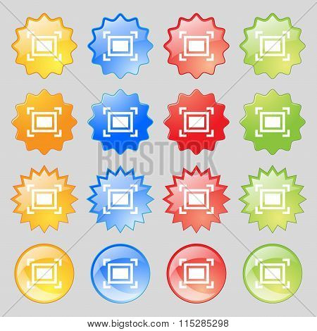 Crops And Registration Marks Icon Sign. Big Set Of 16 Colorful Modern Buttons For Your Design.