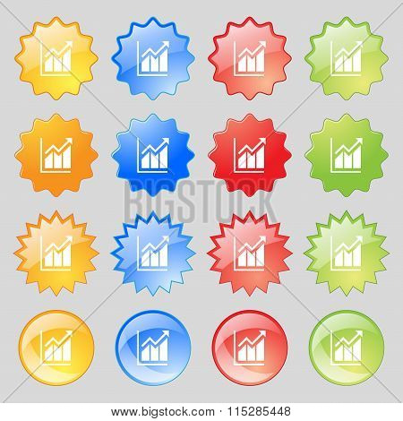Growing Bar Chart Icon Sign. Big Set Of 16 Colorful Modern Buttons For Your Design.