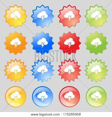 Heavy Thunderstorm Icon Sign. Big Set Of 16 Colorful Modern Buttons For Your Design.