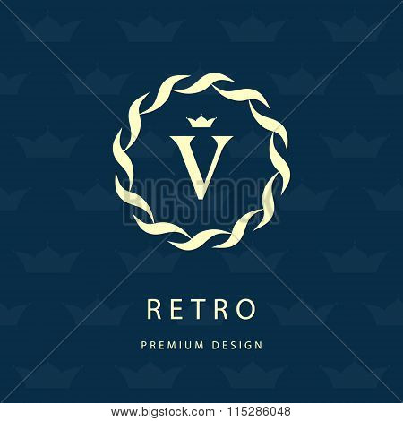 Monogram Design Elements, Graceful Template. Elegant Line Art Logo Design. Letter Emblem V. Retro Vi