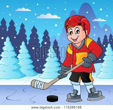 Ice hockey player on frozen lake - eps10 vector illustration.