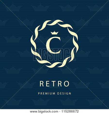 Monogram Design Elements, Graceful Template. Elegant Line Art Logo Design. Letter Emblem C. Retro Vi