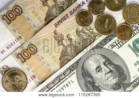 Dollars And Russian Money As A Background