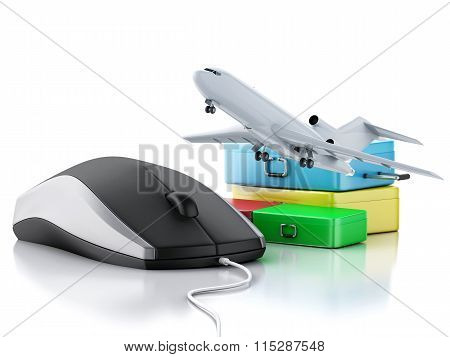 3D Airplane, Suitcase And Computer Mouse. Travel Concept.