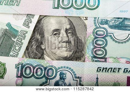 Hundred Dollars And Russian Banknotes