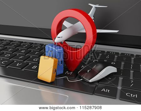 3D Travel Suitcase And Airplane On Computer Keyboard.