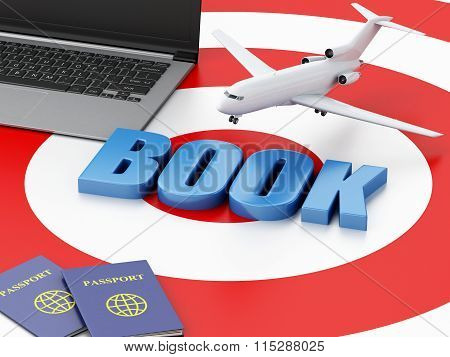 3D Laptop Pc, Airplane And Passport