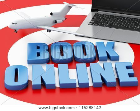 3D Laptop Pc And Airplane. Travel Concept