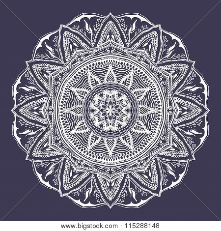 Vector Floral Mandala In Indian Style. Mehndi Ornamental Flower