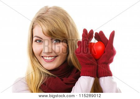 Woman In Woolen Gloves Holding Red Heart, Symbol Of Love