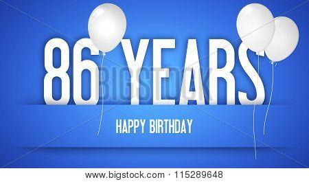 Happy Birthday Card - Boy With White Balloons - 86 Years Greeting Postcard - Illustration Anniversar