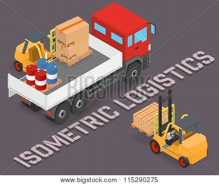 Isometric process of loading the trucks with a forklift