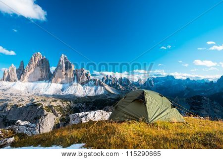 Camping in high mountains