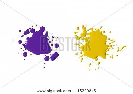splats splashes and blobs of brightly colored paint in different shapes drips isolated on white
