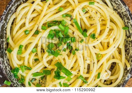 Pasta With Egg And Leek For Backgrounds